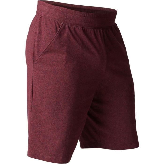 Herenshort 500 voor gym en stretching regular fit tot boven de knie bordeaux