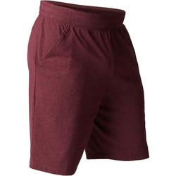 Short 500 regular fit tot boven de knie pilates en lichte gym heren bordeaux
