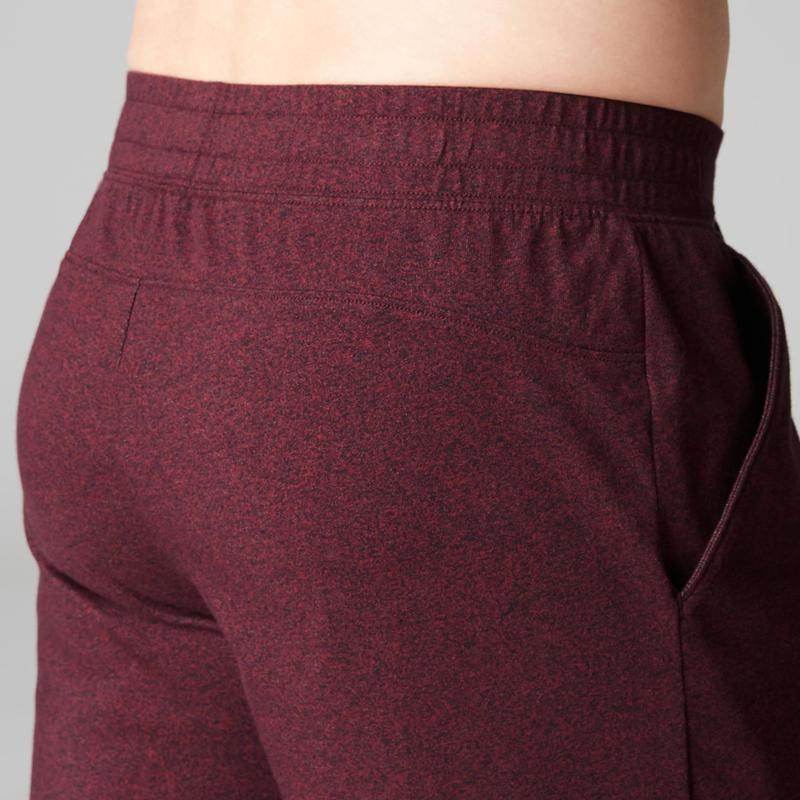 Pánské dlouhé šortky 500 regular nad kolena na cvičení bordó ... 01768d096b