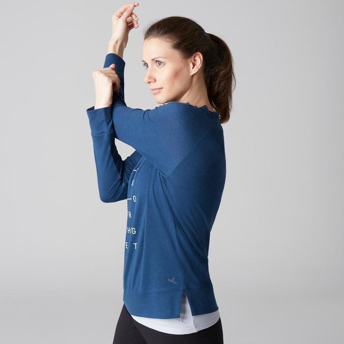 Camiseta 500 mangas largas gimnasia Stretching mujer azul oscuro estampado