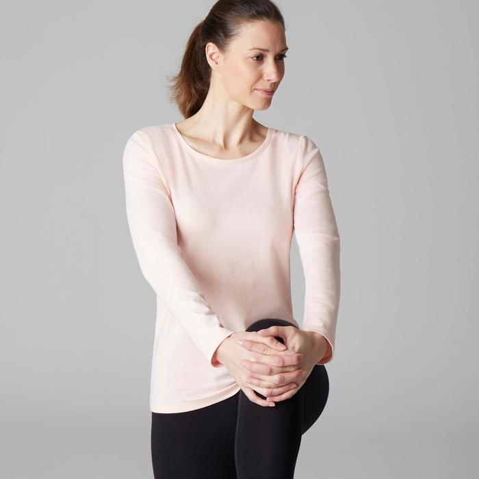 T-shirt 100 manches longues Gym Stretching femme rose clair