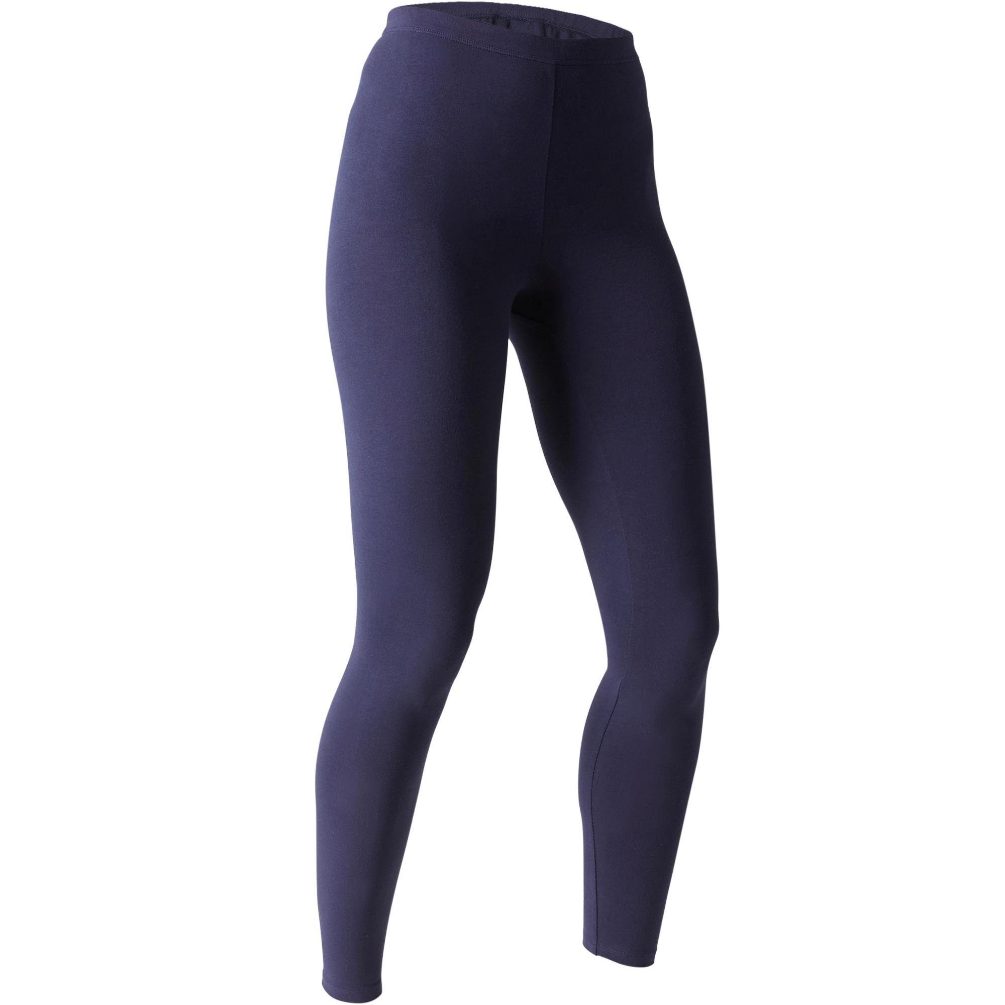 6128c5f8aff291 100 Stretch Women's Slim-Fit Pilates & Gentle Gym Leggings - Navy Blue |  Domyos by Decathlon