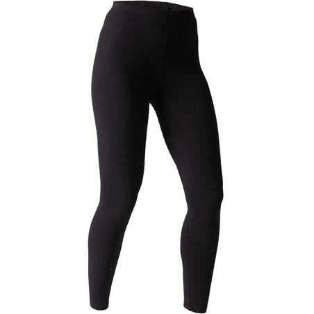 Stretch Legging Pilates & Gym Slim-Fit 100 Wanita - Hitam