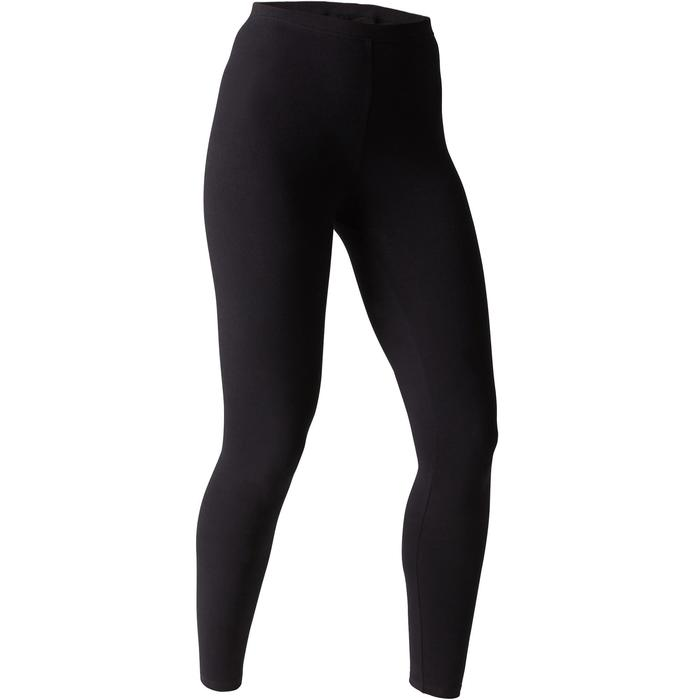 Fitnesslegging dames Stretch 100 slim fit zwart