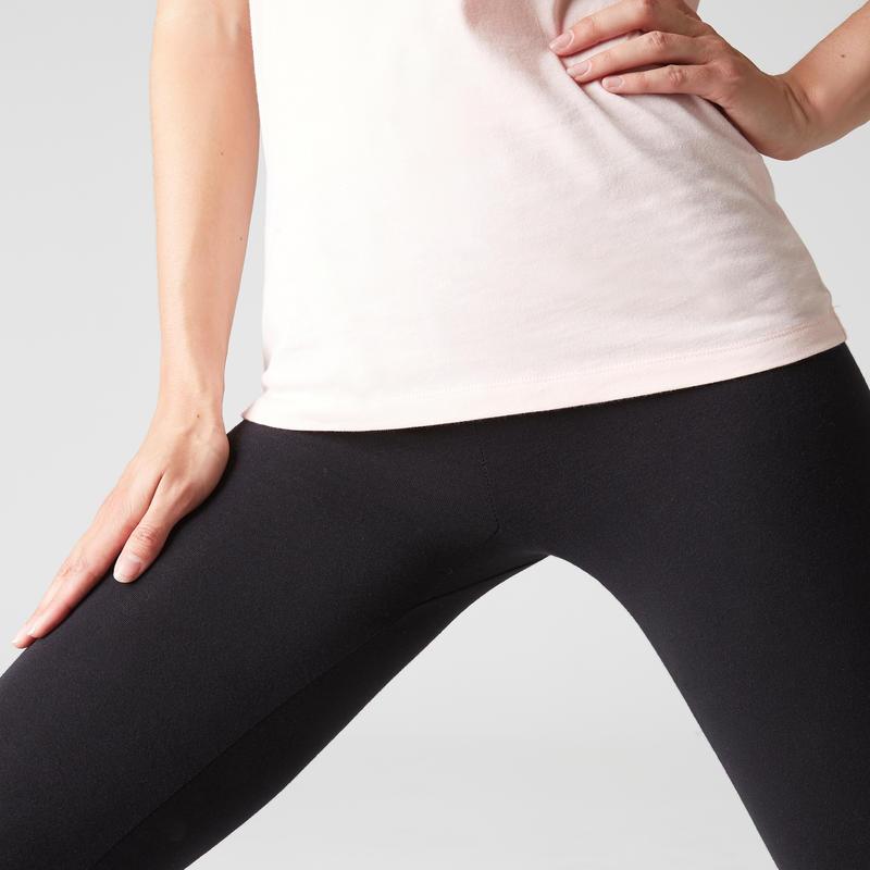 Legging sport Stretch femme en coton noir