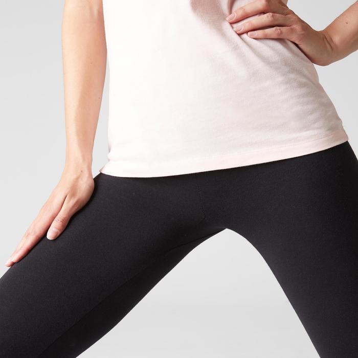 Mallas Leggings Deportivos Gimnasia Pilates Domyos Stretch 100 Mujer Negro