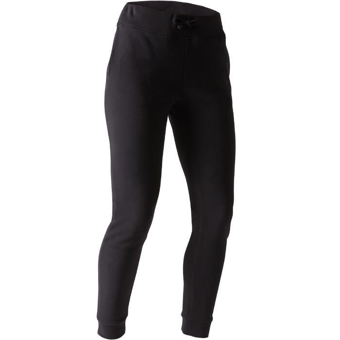 男款修身剪裁皮拉提斯溫和健身長褲560 - 黑色