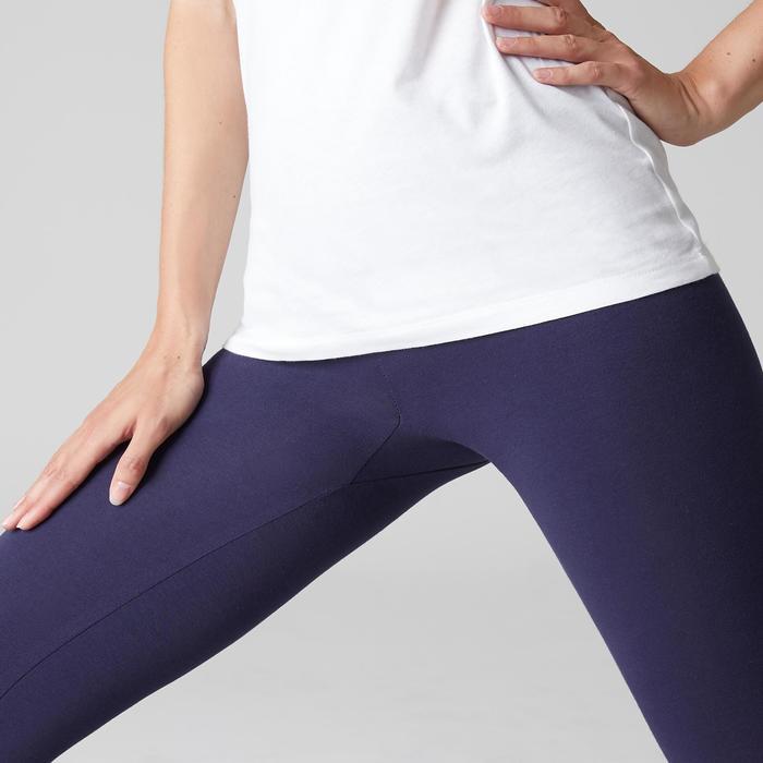 Mallas Leggins Deportivos Gimnasia Pilates Domyos Stretch 100 Mujer Azul