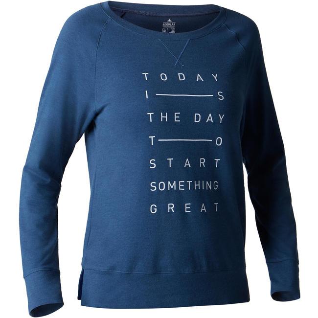 500 Women's Long-Sleeved Stretching T-Shirt - Dark Blue Print