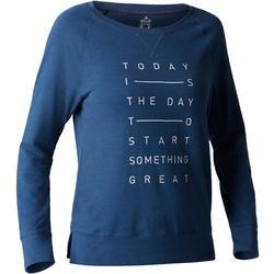 Langarmshirt 500 Gym Stretching Damen dunkelblau mit Print