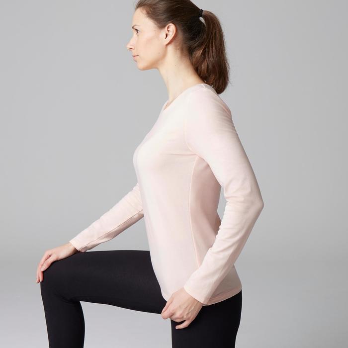 Damesshirt 100 met lange mouwen voor gym en stretching lichtroze