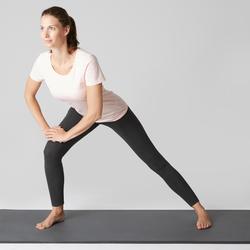 Mallas Leggings Deportivos Gimnasia Pilates Domyos Stretch 100 Mujer Gris