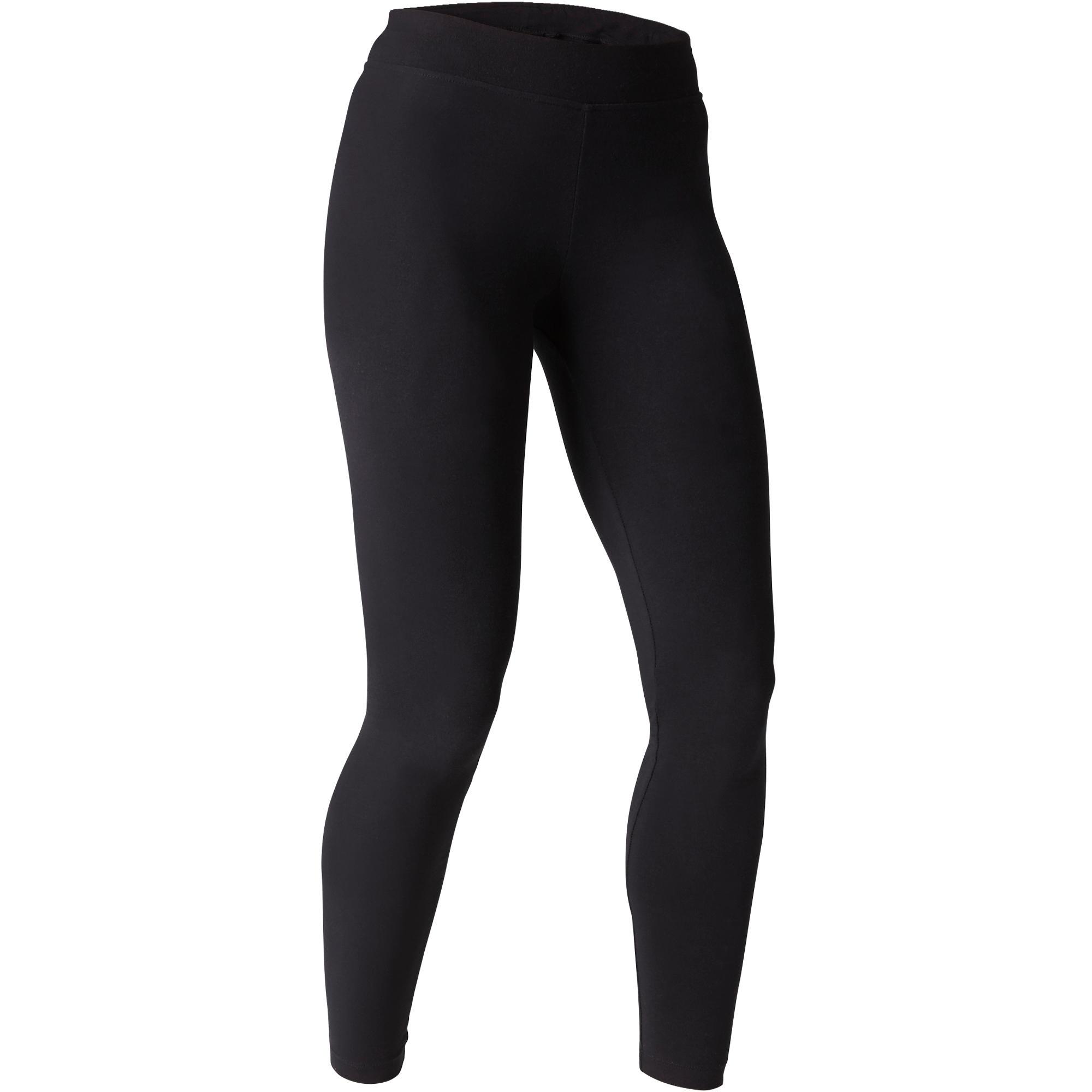 Leggings Fit+ 500 slim Pilates y Gimnasia suave mujer negro