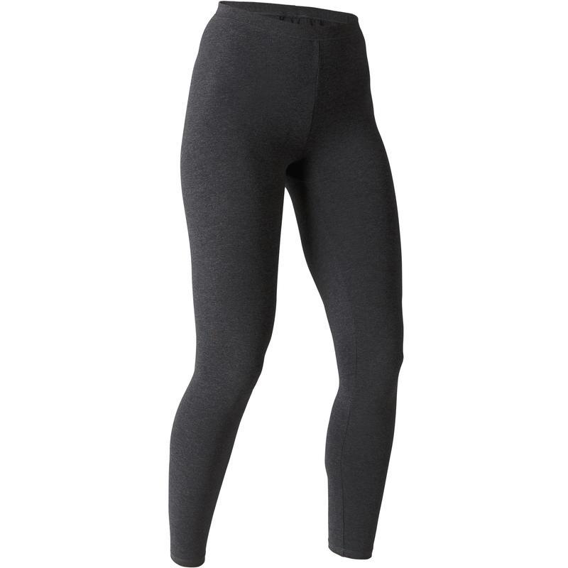 Leggings Stretch 100 mujer gris oscuro jaspeado