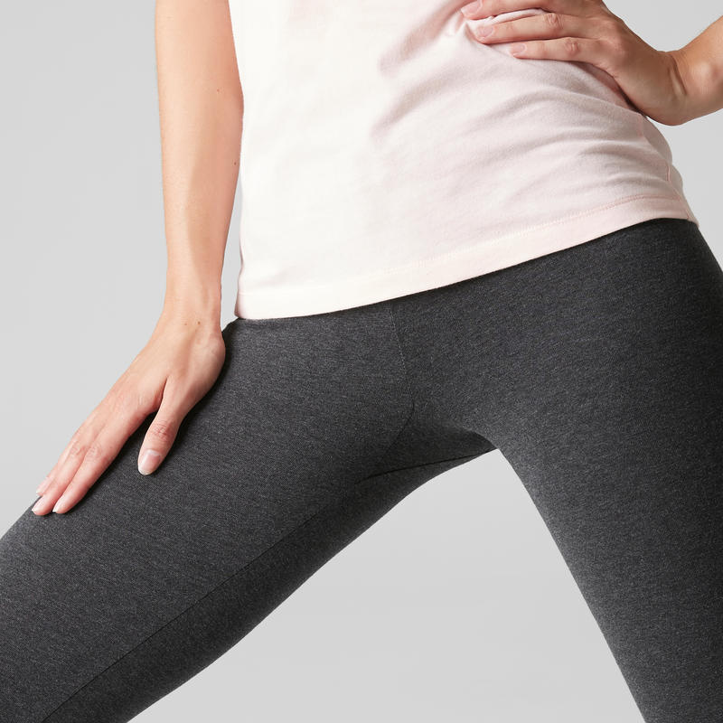 Women's Slim 100 Fitness Leggings Stretch 100 - Grey
