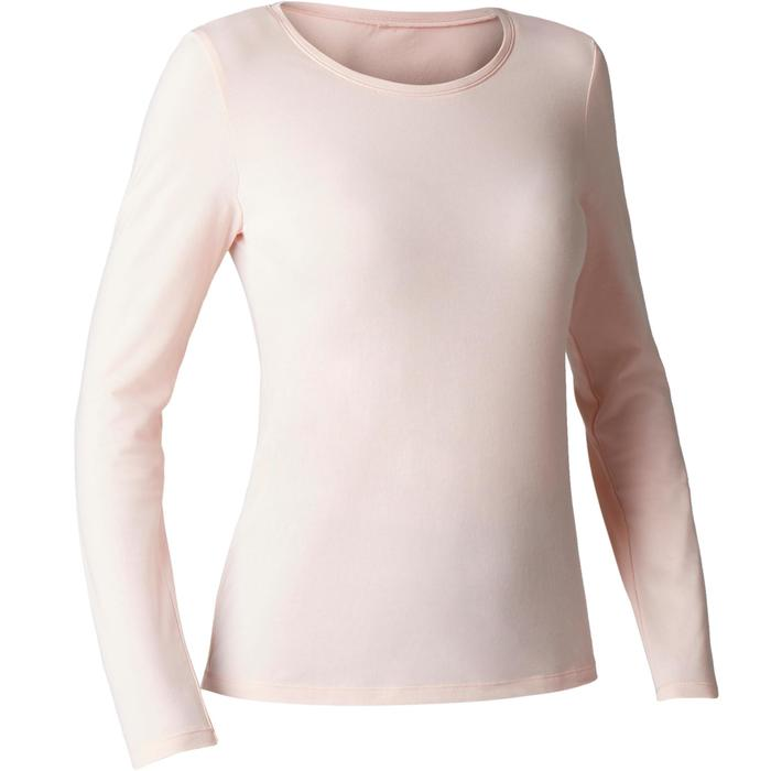 Langarmshirt 100 Gym Stretching Damen hellrosa