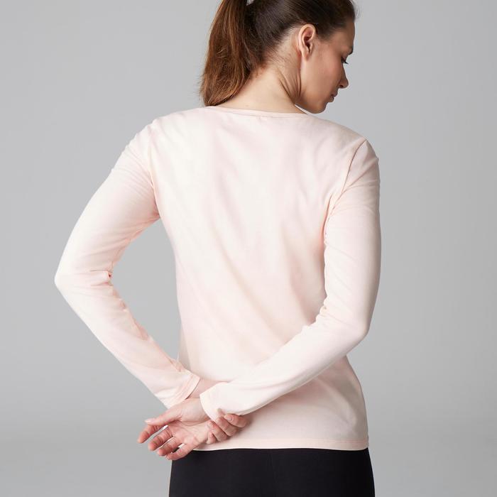 Camiseta Manga Larga Gimnasia Y Pilates Domyos 100 Con Algodón Mujer Rosa Claro