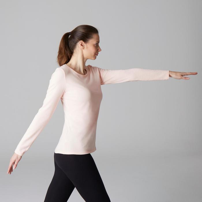 Camiseta 100 de manga larga Pilates y Gimnasia suave mujer rosa claro