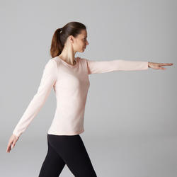 T-shirt 100 manches longues Pilates Gym douce femme rose clair