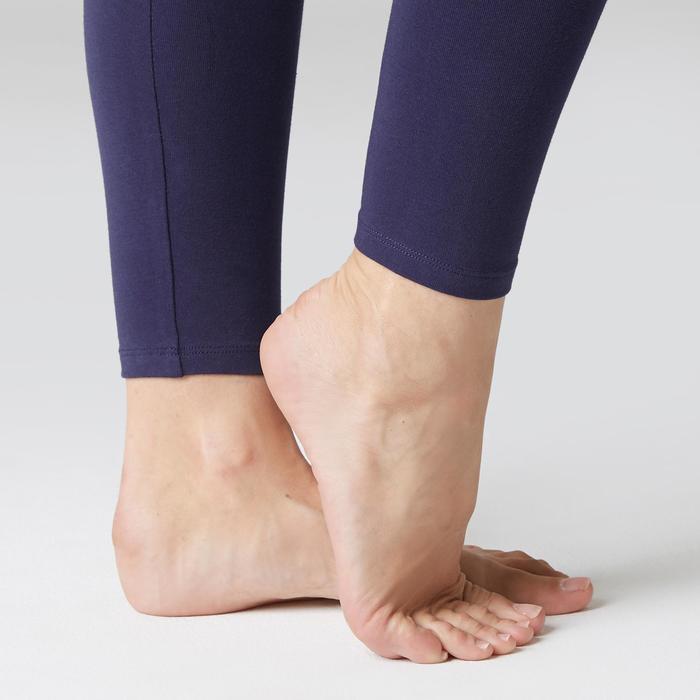 Mallas Leggings Deportivos Gimnasia Pilates Domyos Stretch 100 Mujer Azul