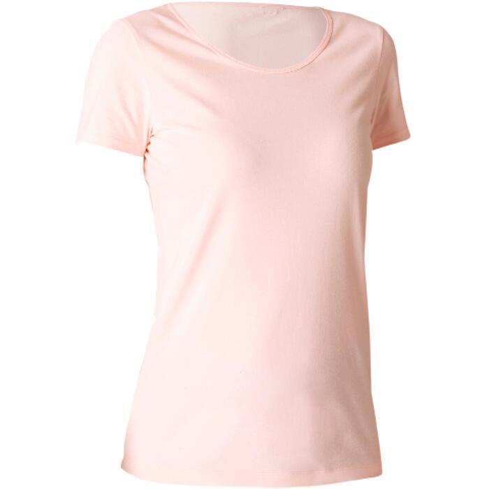 T-shirt Sport 100% coton Pilates Gym douce Femme Rose