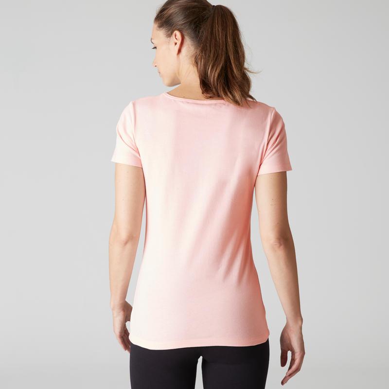 100 Sportee Women's 100% Cotton Gentle Gym & Pilates T-Shirt - Light Pink