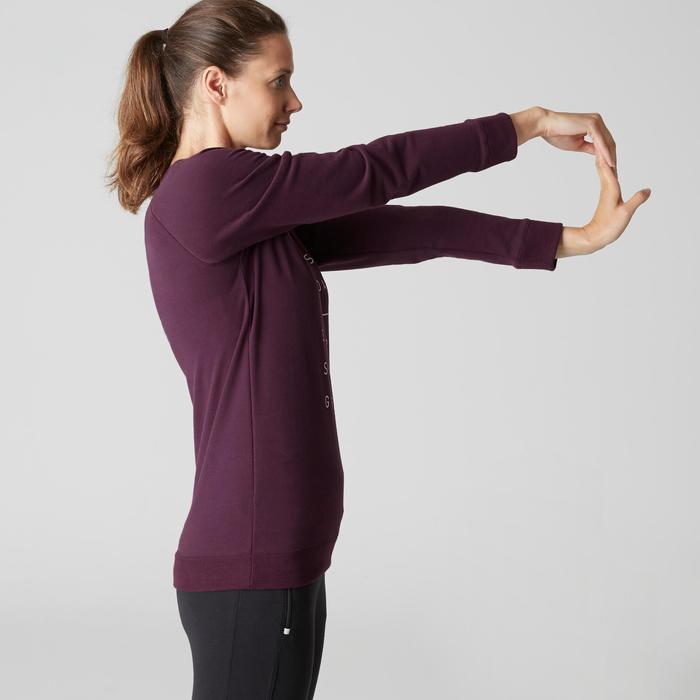 Damessweater 500 voor gym en stretching paars