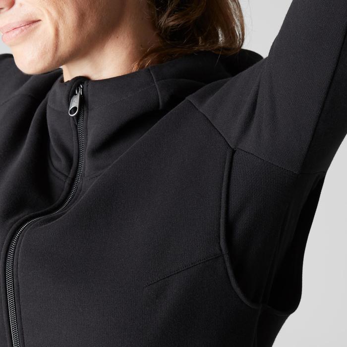 Dameshoodie met rits Free Move 540 voor gym en stretching zwart