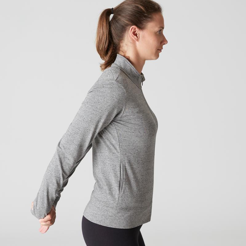 100 Women's Pilates Gentle Gym Jacket - Mottled Grey