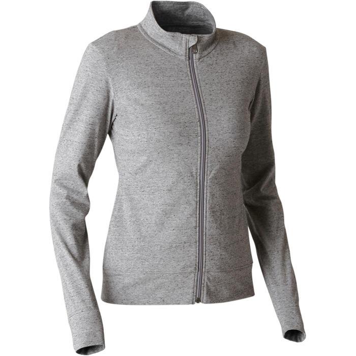 Veste zippée femme 100 gris chiné