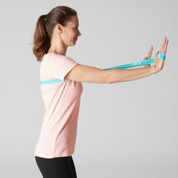 Dames T-shirt Sportee 100 pilates en lichte gym 100% katoen lichtroze