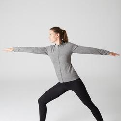Trainingsjacke 100 Pilates sanfte Gymnastik Damen graumeliert