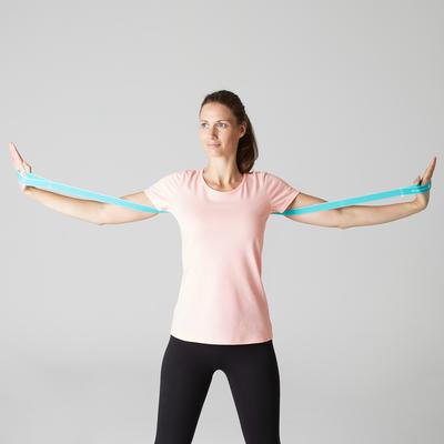 T-shirt 100% coton Sportee 100 Pilates Gym douce femme rose clair