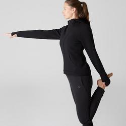 Dameshoodie met rits voor gym en stretching 900 zwart