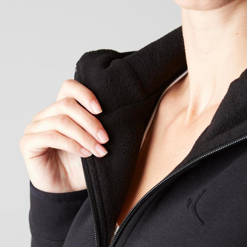 Damenbekleidung Kapuzenjacke 900 Gym Stretching Damen schwarz