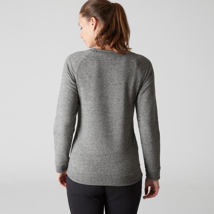 Damessweater 500 voor gym en stretching gemêleerd kaki