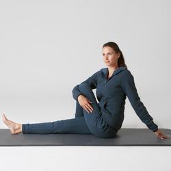 Dameshoodie met rits 900 voor gym en stretching donkerblauw