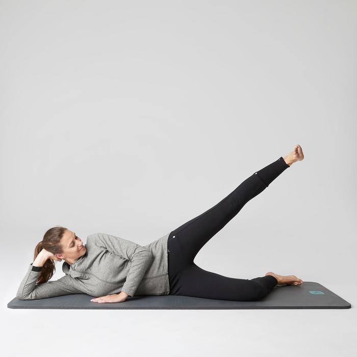 Lang vest 500 capuchon gym en stretching dames grijs