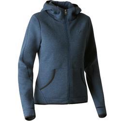 Veste 900 capuche Gym Stretching femme bleu foncé