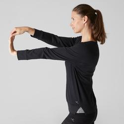 Camiseta Manga Larga Gimnasia Pilates Domyos 500 Mujer Negro
