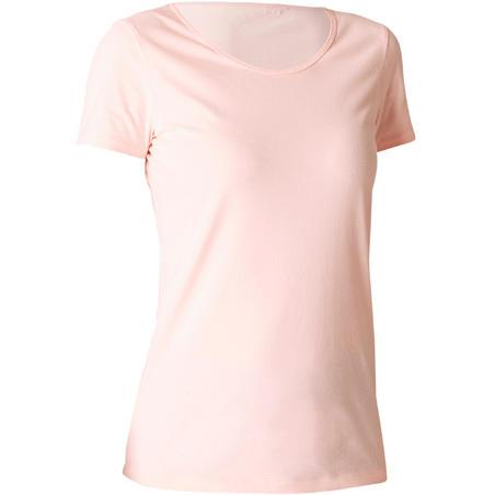 Жіноча футболка 100 для пілатесу та гімнастики - Світло-рожева