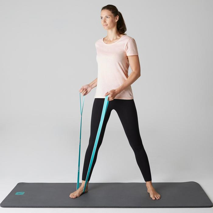 Dames T-shirt 500 voor gym en stretching regular fit gemêleerd lichtroze