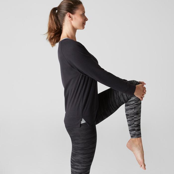T-Shirt 500 manches longues Pilates Gym douce femme noir printé