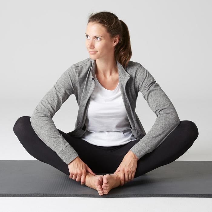 Damesvest voor pilates en lichte gym 100 gemêleerd grijs