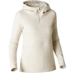 500 Women's Hooded Gym Stretching Sweatshirt - Beige