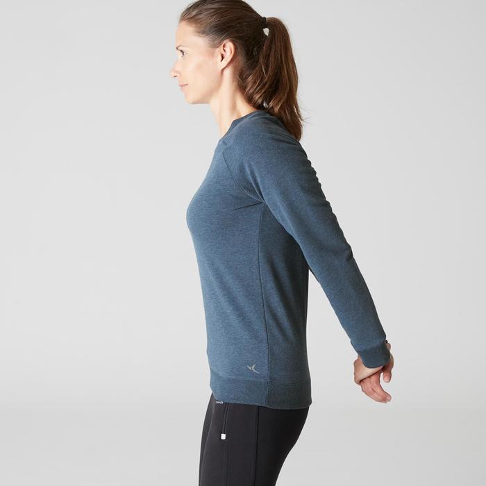 Sweat 500 Gym Stretching femme bleu foncé chiné