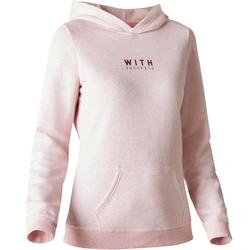520 Women's Gym & Pilates Hooded Sweatshirt - Light Mottled Grey Print