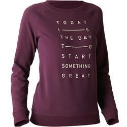Sweatshirt 500 Gym Stretching Damen lila meliert