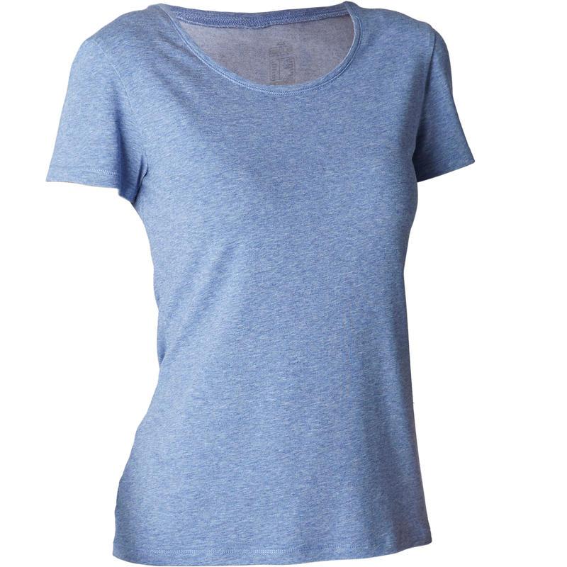 500 Women's Regular-Fit Pilates & Gentle Gym T-Shirt - Mottled Dark Blue