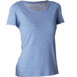 Dames T-shirt 500 voor gym en stretching regular fit gemêleerd blauw